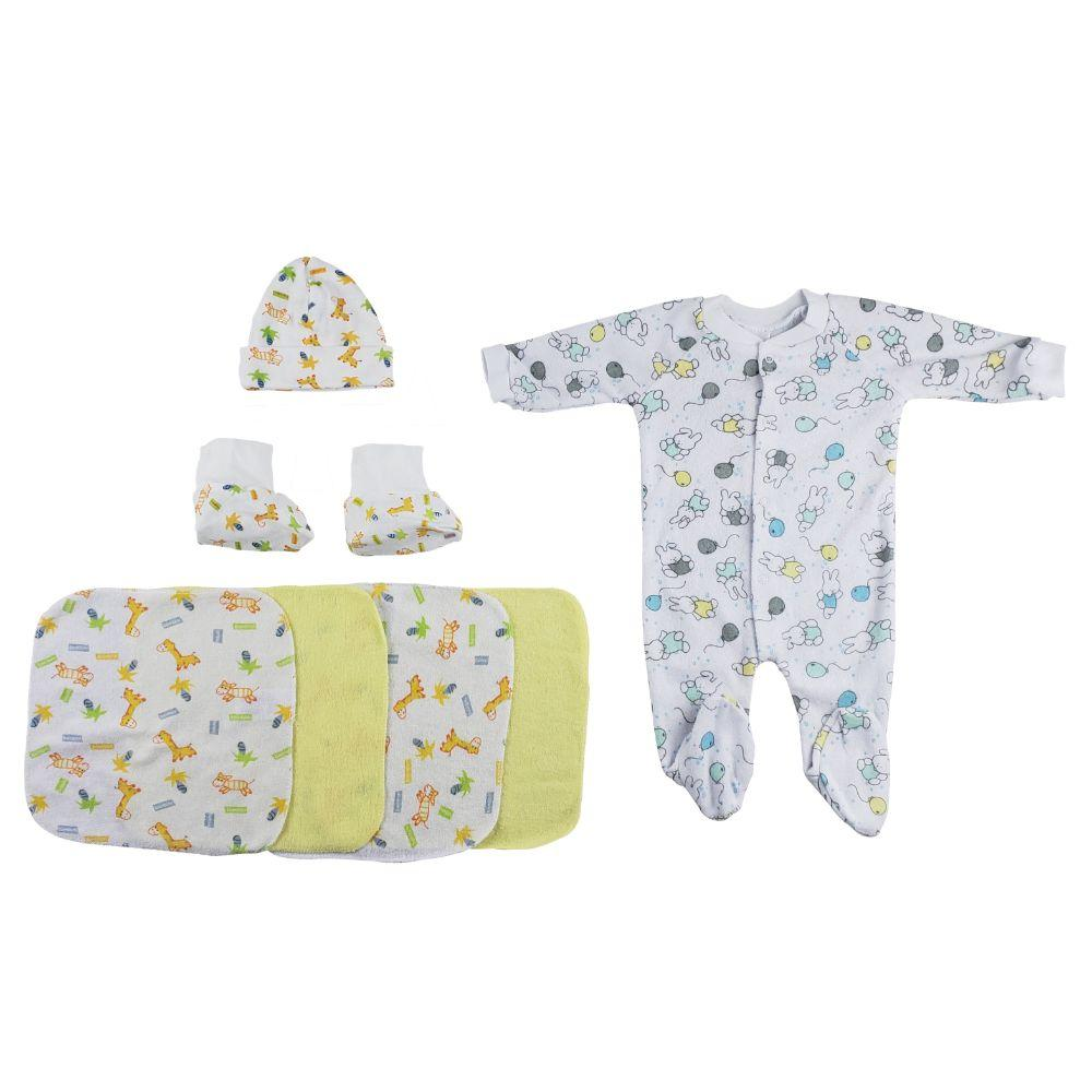 Gowns, Cap Booties and Washcloths - 8 Pc Set Newborn
