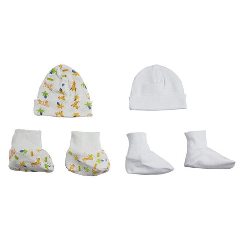 Caps, Booties - 4 Pc Set  Newborn