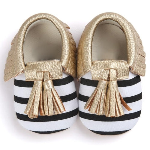 Infant Shoes Striped Slip On Metal Color Tassel