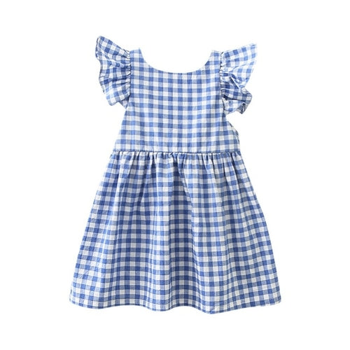 Girls Plaid Print Bowknot