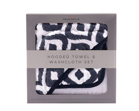 Moroccan Blue Hooded Towel and Washcloth Set