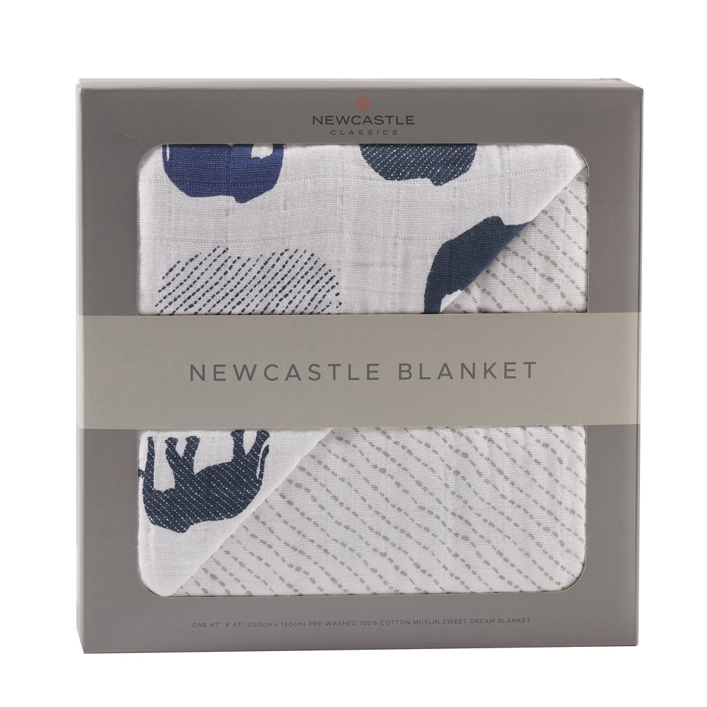 Blue Elephants and Spotted Wave Newcastle Blanket