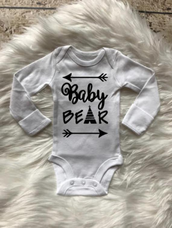 Baby Bear, coming come outfit, boy bodysuit