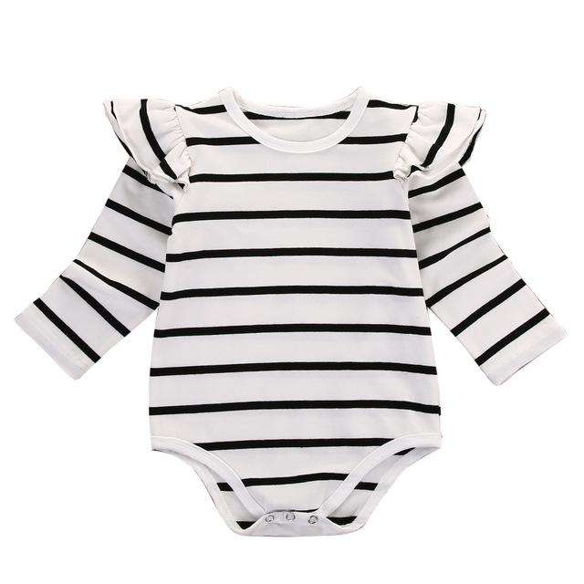 Striped Ruffles baby clothes romper - Infant Route