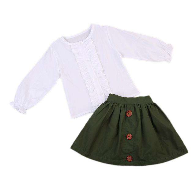 Bella Bella long Sleeve White T-shirt + Olive Skirt - Infant Route