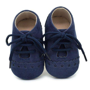 "Baby Boy Moccasins First Walkers ""Suede Leather"" - Infant Route"