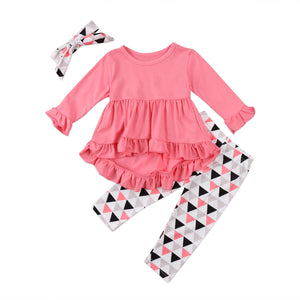 Triangle Dress + Pants + Headbands Set