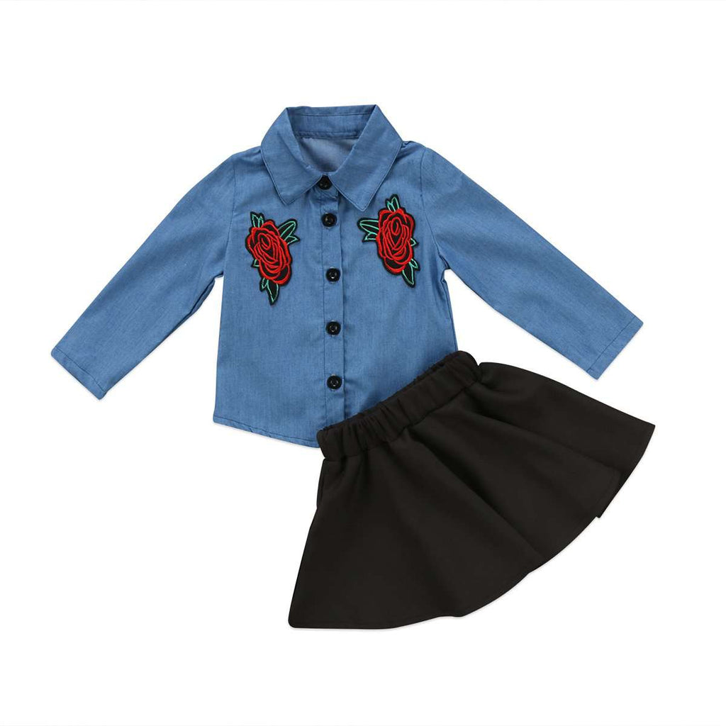 Denim Flower & Black Tutu Outfit
