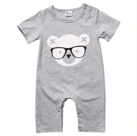 Newborn Baby Boy Short Sleeve Gray Bear Romper - Infant Route