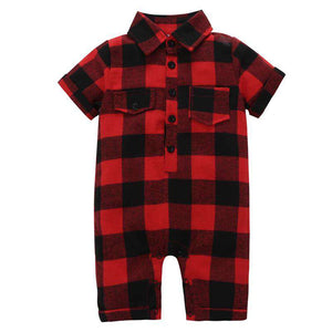 Red and black plaid romper - Infant Route
