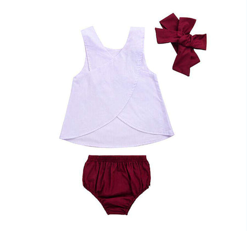 3Pcs White and Maroon Set - Infant Route