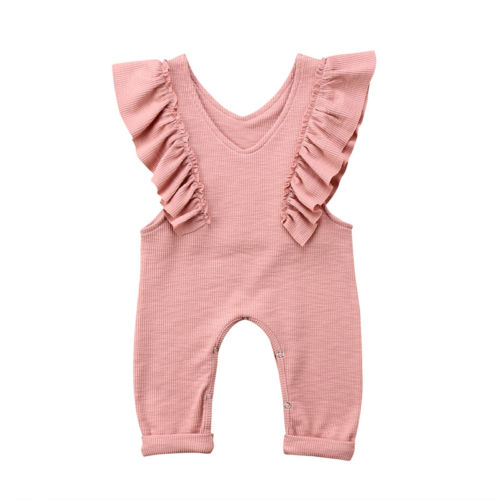 Knitted Ruffles Sleeveless Romper