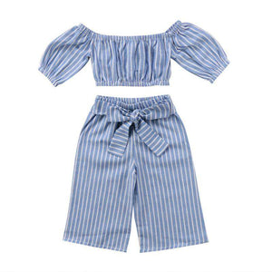 Summer Toddler Girls Cotton Striped Off-shoulder Blouse Tops Bowknot Long Pants 2Pcs Outfits Clothes - Infant Route