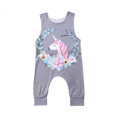 Unicorn Floral Sleeveless Jumpsuit - Infant Route
