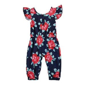 Toddler Cotton Floral Sleeveless Buttons Long Romper - Infant Route