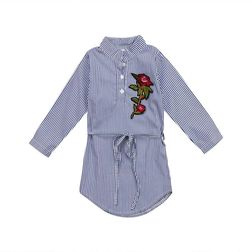 Flower Stripes Long Sleeve dress