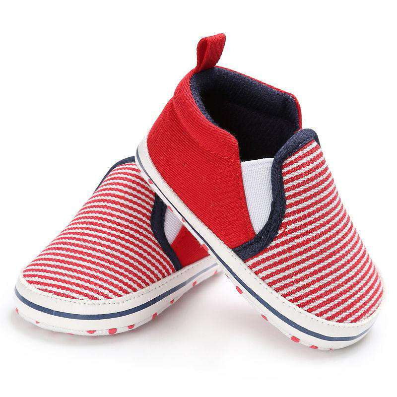 Red Soft Sole Striped Shoes - Infant Route