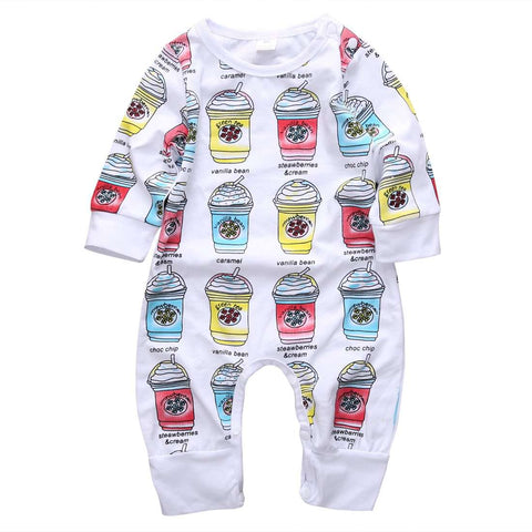 Frappe Pattern Long Sleeve Romper - Infant Route