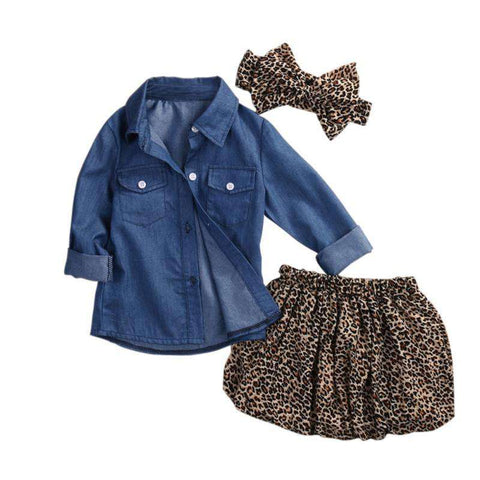 Denim Top & Leopard Skirt Toddler Outfit - Infant Route
