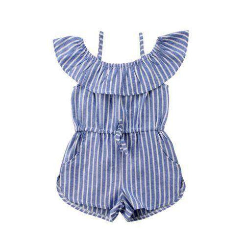 Blue Stripes Toddler Girl Romper Ruffles off Shoulder - Infant Route