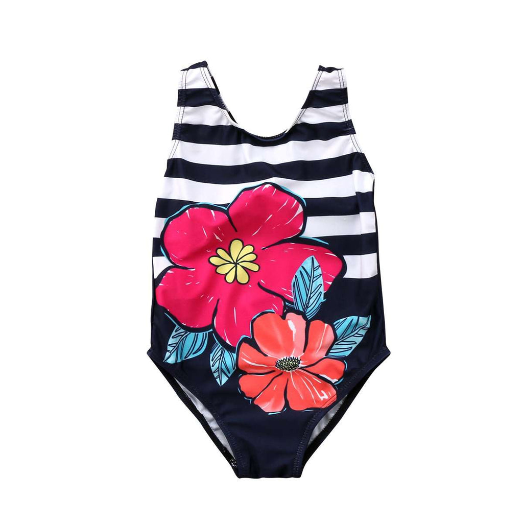 Toddler Stripe Floral Bodysuits Bikini - Infant Route