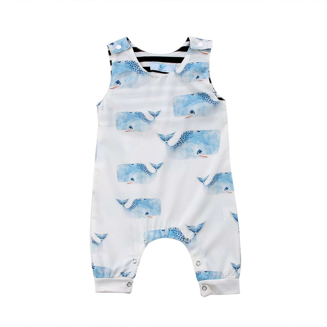 Boys Sleeveless Whale Print Romper - Infant Route
