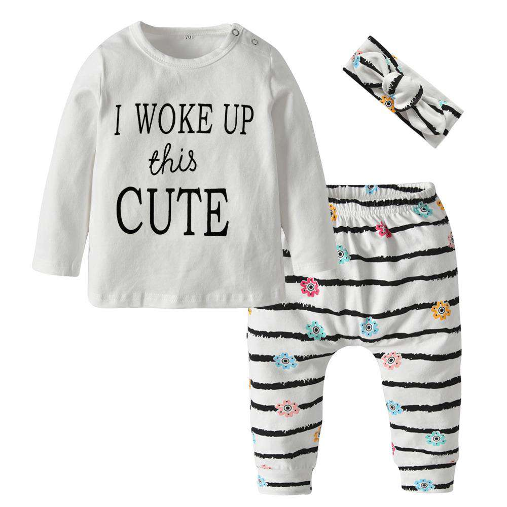 """I Woke Up This Cute"" Long Sleeve T-shirt & Flowers Pants w/ Headband - Infant Route"