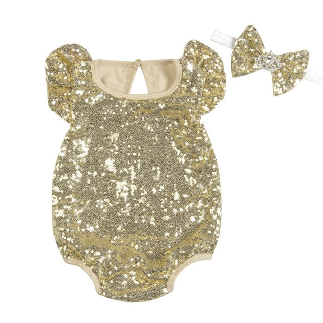 Sequins Love 2PCS(Romper+Headband)