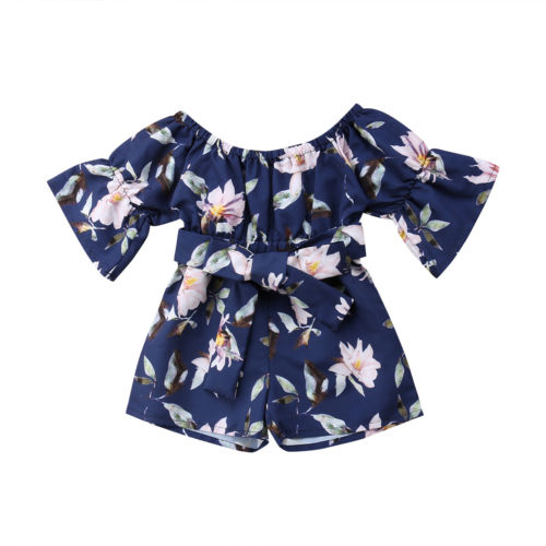 Floral off shoulder Bow knot Sunsuit