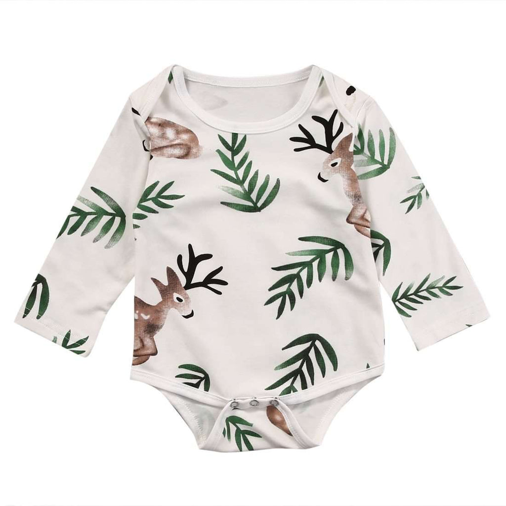 Long Sleeve Leaf Deer Print Rompers