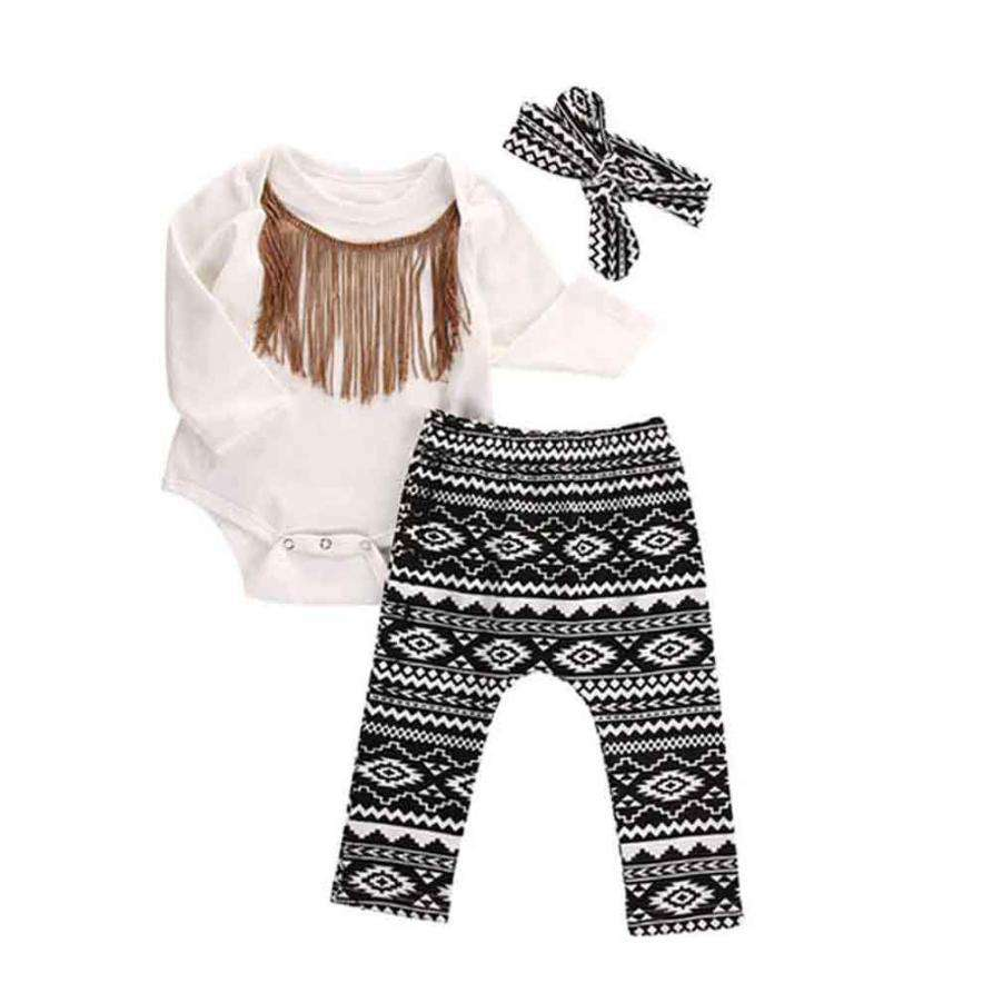 Tassels Long Sleeve Romper+legging