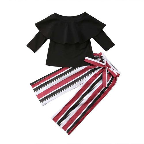 Off shoulder, Striped Pants Outfit - Infant Route