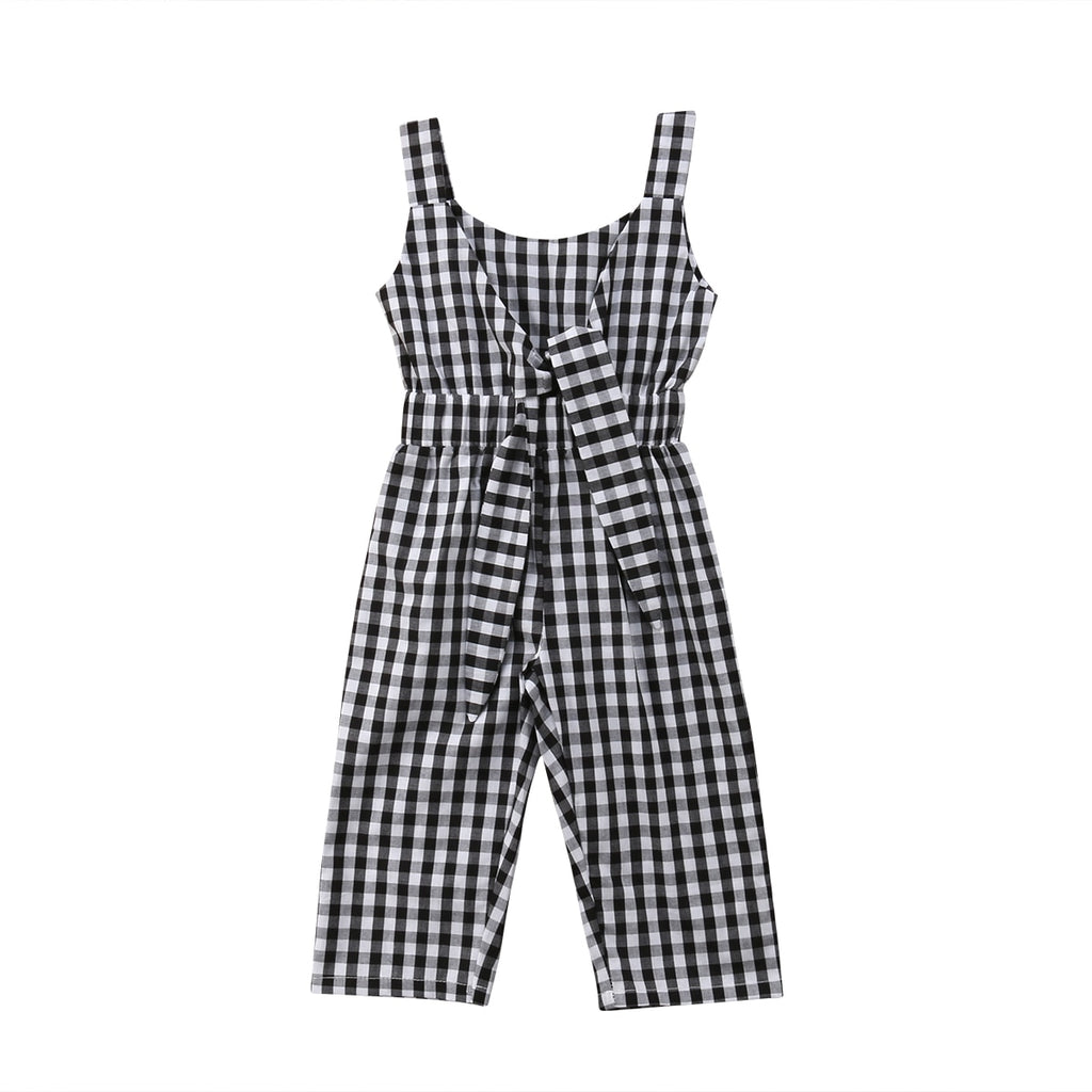Black & White Plaid Romper