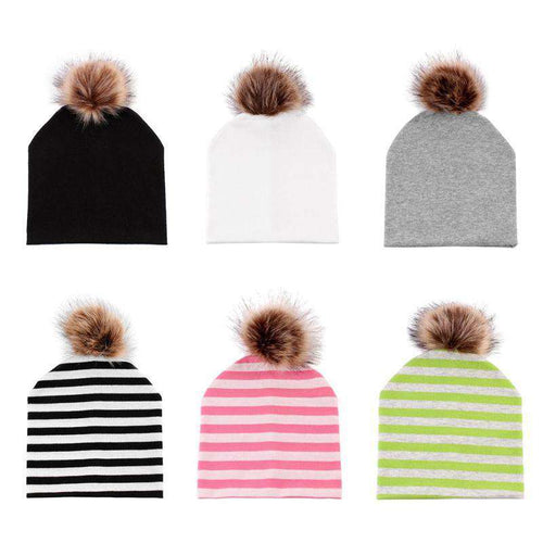 Fur Pom Pom Solid Color Hats