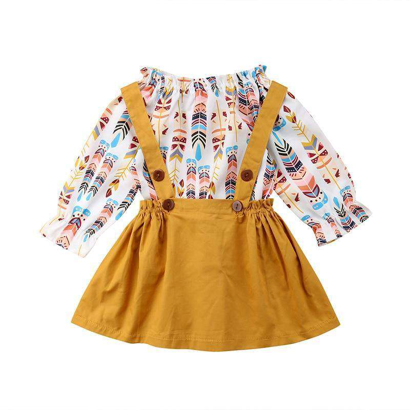 Muti Feather T-shirt Top+Overall Skirt Set - Infant Route