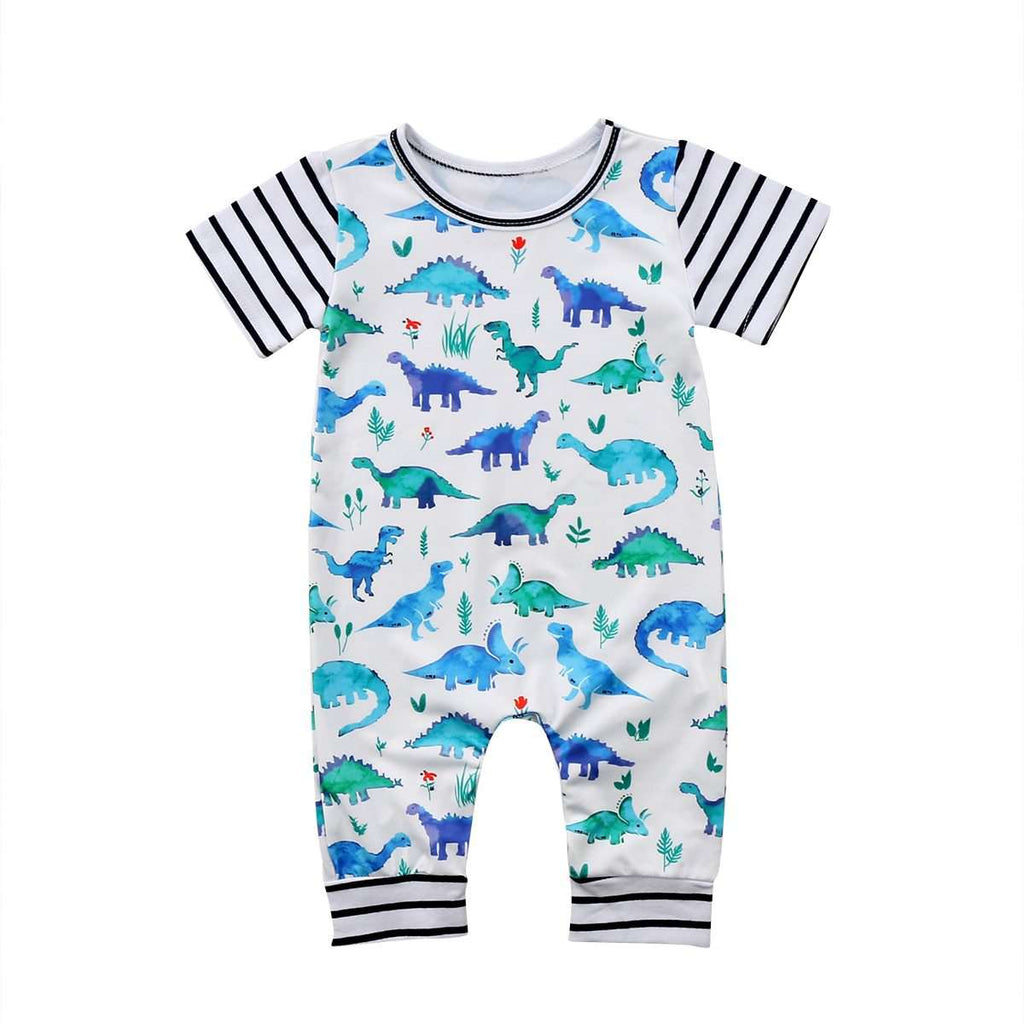 Blue Striped Dinosaurs Jumpsuit - Infant Route
