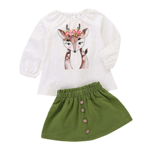 Deer Print Long Sleeve +Skirt Outfit