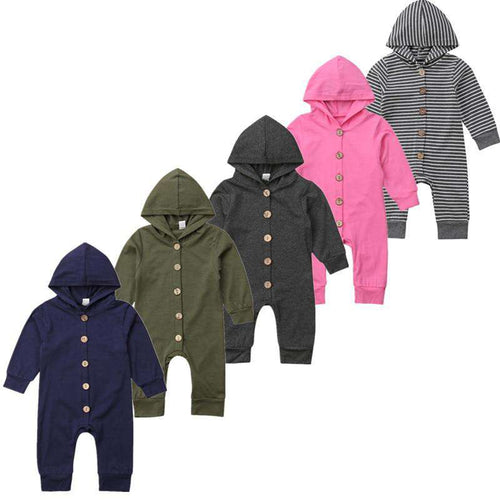 Long Sleeve Button / Hooded Romper