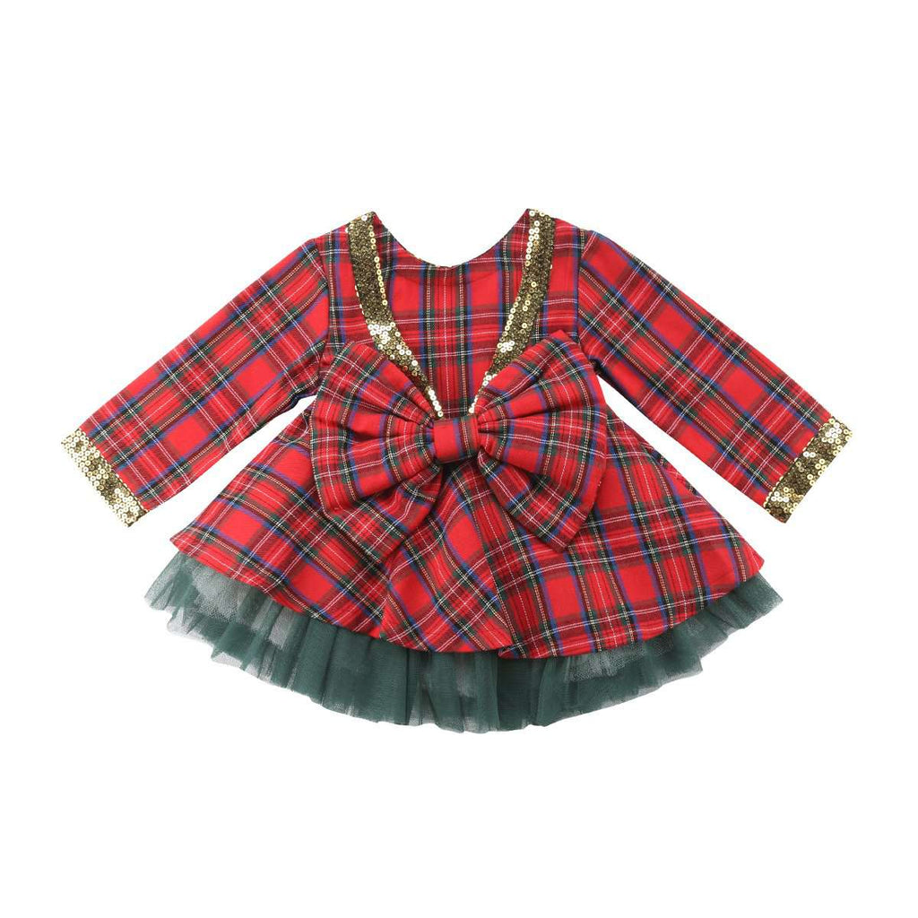 Plaid Tutu Bow Dress