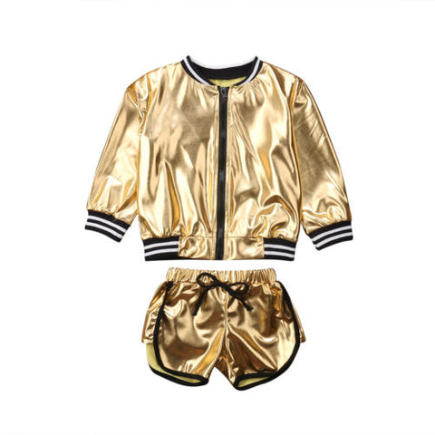 Chic Shinny Jacket & Short Set