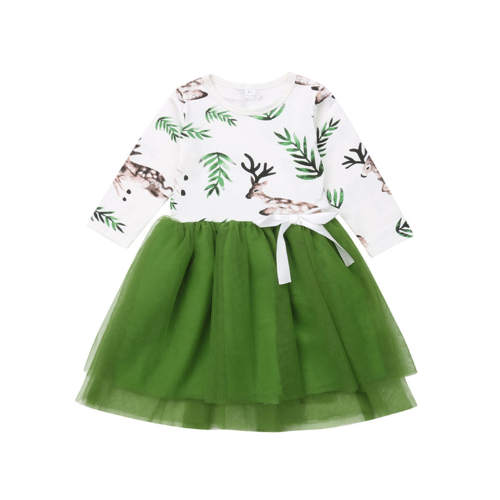 Green Deer,  Ruffles Princess Dress