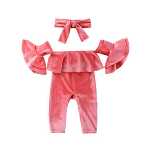 Girl Velvet Ruffled Sunsuit Romper