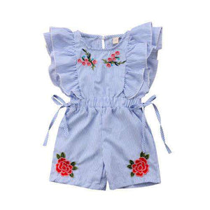 Rose Striped Ruffle Romper