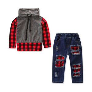 Plaid Hooded Top + Denim Pants