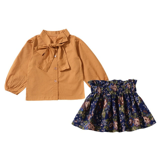Yellow Blouse and Floral Skirt Set