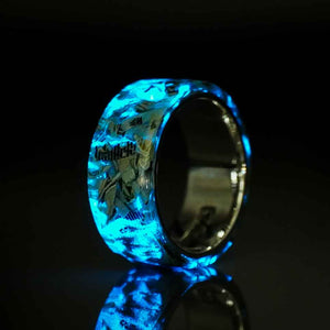 Banknote - Sterling Silver, Shredded Cash, and Blue Glow Ring