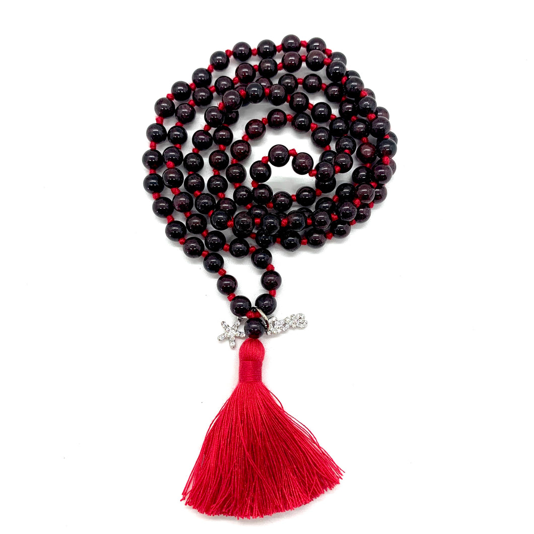 Garnet charm Tassel Mala for Passion, Love, & Resiliency