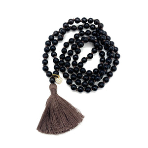 Smoky Quartz Charm Tassel Mala for Stress Relief, Deep Healing, & Energy Cleansing