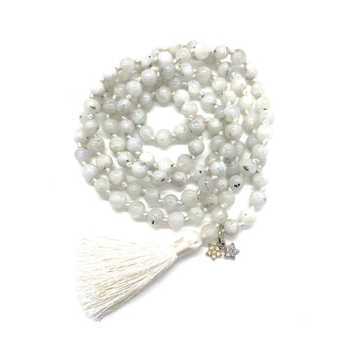 Moonstone Tassel Mala w/ Star Charms for Intuition, Empowerment, Divine Feminine Energy, & Encouragement