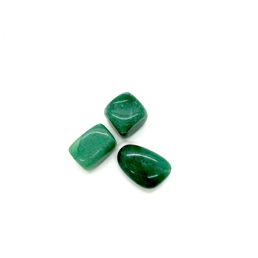 Aventurine is a green stone that brings forth prosperity, luck & abundance and is most associated with the heart chakra for love. It is also a stone that helps with fertility.  Three stones come in this trio that each measure approximately 1 inch. All earthlings (stones, gemstones, and crystals) carry energy & vibrations and can be worn (or carried) on your body, displayed around the interior &/or exterior of your home, at your office, or in your car.